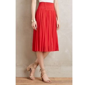 Anthropologie HD Paris Red Carmina Pleated Skirt